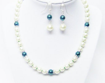 Ivory w/Emerald Glass Pearl & Rondelle Crystal Necklace/Bracelet and Earrings Set