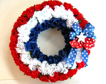 Patriotic wreath, Memorial Day flowers, Fourth of July decoration, Holiday wreath, Front door decoration, Floral wreath, Patriotic decor