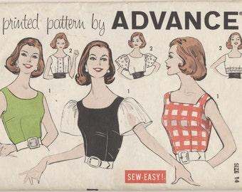 Vintage 1950s Advance Pattern 9376 Misses Crop Tops Blouses Bust 34