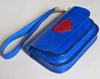 Electric blue leather wristlet, leather clutch, leather belt case, belt bag, hip bag, red leather heart accent