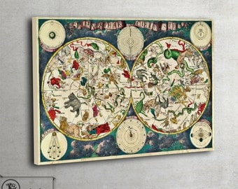 Vintage Celestial Map - LARGE Canvas Print - Ready To Hang, 026