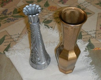 Two glass painted vases   1 silver 1 gold