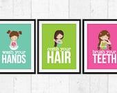 Girls bathroom rules, brush your teeth, wash your  hands, brush your hair, hygiene art prints, bathroom decor, kids bathroom posters