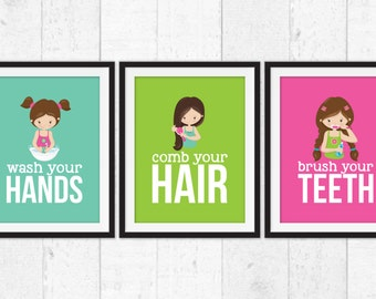 Girls bathroom rules, brush your teeth, wash your  hands, brush your hair, hygiene art prints, bathroom decor, kids bathroom posters