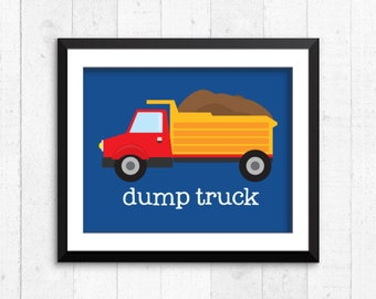 Trucks, construction, boy art prints, dump truck print, construction art, baby nursery decor, kids wall art, nursery print, construction art
