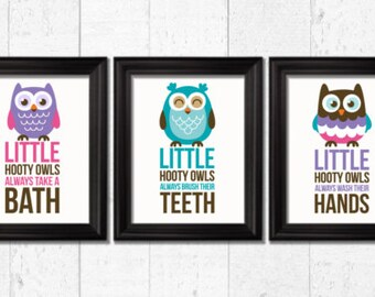 Hooty owls always take a bath,Kids bathroom Decor, Kids Wall Art, Baby Decor, Nursery print, bathroom rules prints, owls prints, kids art