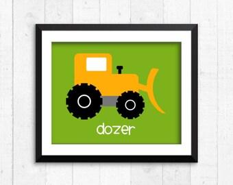 Trucks, construction, boy art prints, dozer print, construction art, baby decor, construction wall art, construction print, kids art, A-1002
