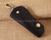 100% Genuine leather Handmade Luxury Leather Key Holder , Black Leather key bag , Car key bag