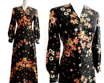 1970 maxi dress long sleeves flowers large