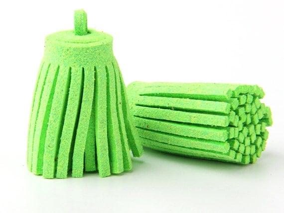 Neon Green, Suede Fringe Tassels, 15mm,  2 pieces // TAS-064