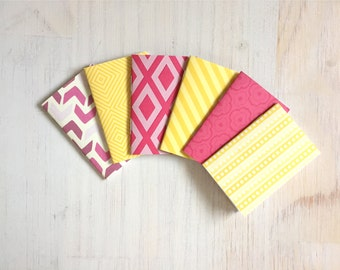 Notebooks: Tiny Journal Set of 6, Yellow, Pink, Cute Notebooks, Cute, Wedding, Favors, Stocking Stuffer, Gift, Unique, Journals, Kids, T147