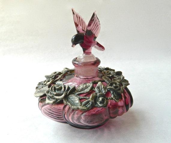 Vintage Perfume Bottle Purple Amethyst Glass Hummingbird