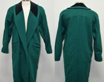 SALE Women's Winter Coat, Size 12 Petite, Ladies' Long Vintage Coat, Braeton Dark Green Women's Coat, Long Pea Coat, Women's Overcoat