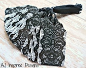 Black Lace Duct Tape Tags//58 Tags// Tape Tags// Product Tags//Gift Tags//Tags with String//Ready to Ship//INVENTORY REDUCTION