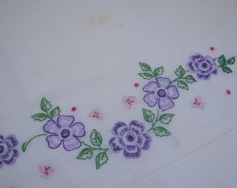 Vintage Embroidered Pillowcase, Lovely Purple Flowers, Possible Cutter