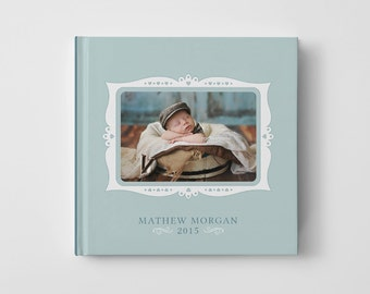 Photo Book Cover Template for Photographers, Baby Book Templates for Boys, Baby Photo Book Cover Template, Newborn Templates - BC111