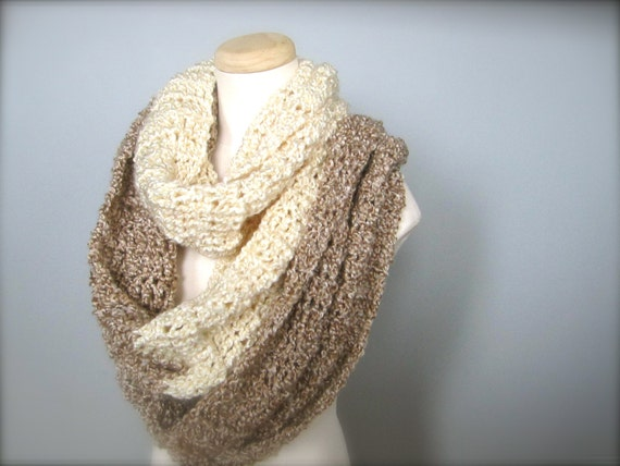 Crochet Oversized  Off White Oatmeal Tan Beige Winter White Extra Wide Extra Long Color Block Infinity Scarf, Wrap