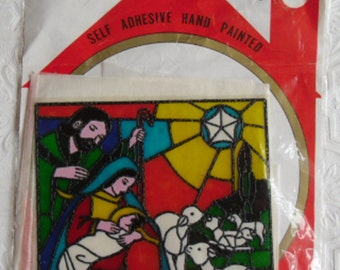 Vintage Christmas Decoration - Instant Stained Glass - Transparent Nativity Decal - Self Adhesive Hand Painted - Made in Taiwan
