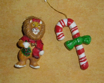 Vintage Christmas Ornaments - Hard Plastic - Wizard of Oz Lion - Candy Cane - Soldier with Drum - Christmas Tree Ornaments - Christmas Decor