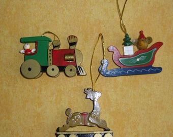 Vintage Christmas Wood Ornaments - Steam Engine - Sleigh - Railway Car with Reindeer - Tree Ornaments - Christmas Decor  - Taiwan