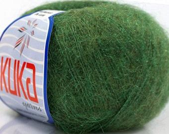 Kid Mohair Green. Superfine winter yarn. Baby yarn. Fingering yarn