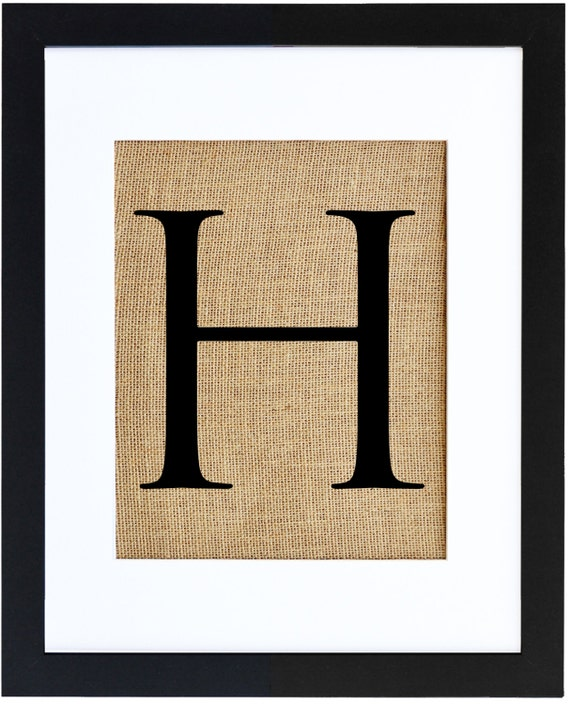 Letter H Burlap Print Monogram Alphabet Burlap By