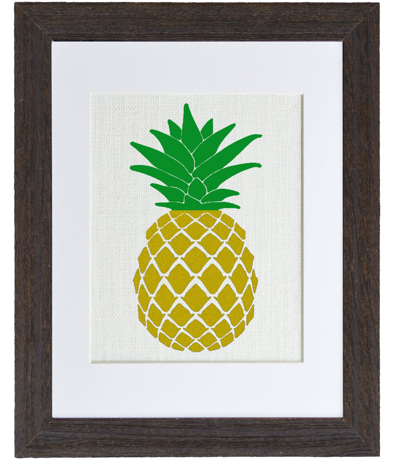 Golden Pineapple, Art for the Kitchen, Hospitality, Burlap Wall ...