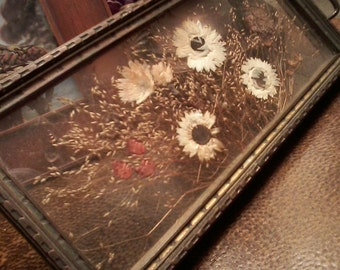 Small Dried Flower Glass and Brass Tray