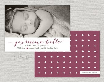 Birth Announcement, photo birth announcement, modern birth announcement, custom birth announcement, baby boy, baby girl, Printable