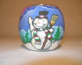 fimo glass votive candle holder  (Snowman)