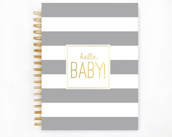 Baby Book, PLATINUM STRIPE Baby Memory  Book, Personalized Baby Book,  Baby Books, The Sweet Rhino