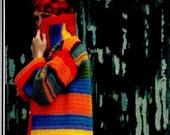 Vintage 70's Crochet Multicolor Rainbow Coat - Pixie Jacket - PDF Pattern - INSTANT DOWNLOAD - Digital Pattern