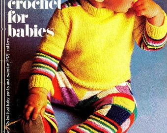 Vintage 70's Knitted Baby Pants & Sweater - PDF Pattern - Baby Knit Pattern - Digital Pattern