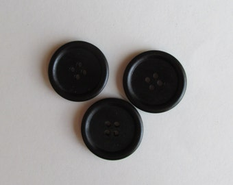 Black 3cm Wooden Buttons