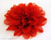 "Red Fabric Flower Head - NEW 3.5"" Mum Flowers - ONE PIECE - Crafting Supplies - Fabric Flower - Valentine's Day - Christmas - 4th of July"