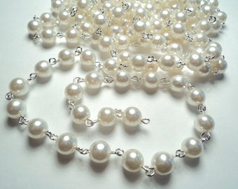 5 ft- Silver plated 8mm white pearl link chain -m180w