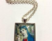 Mary Madonna Religious Art Glass Pendant