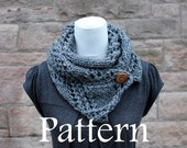 Knitting PATTERN-grey crossing lace button scarf - Listing136