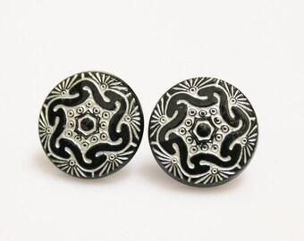 Black and White Earring Studs, Flower Earrings, Czech Glass Jewelry