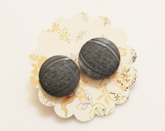 Gray Stud Earrings, Gifts Under 15, Gifts For Her, Button Jewelry
