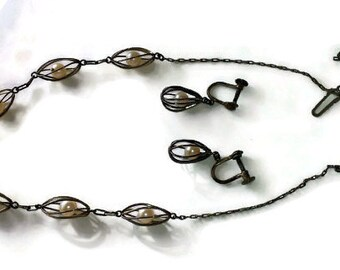 Vintage Necklace and Earrings Silver and Pearls