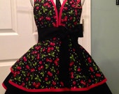 Custom Order for Michelle  ...Retro Sweetheart Apron with embroidery and matching bow shoe clips