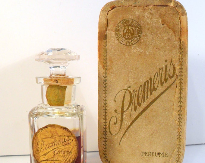 Antique 1890s Premeris by Turner, Wood & Co. Victorian Era Perfume Bottle and Box