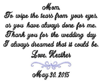 Mother of The Bride Handkerchief - To wipe the TEARS from your eyes- WEDDING DAY I always Dreamed Hanky Mother of the Bride Hankerchief