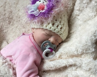 Baby girl crocheted,knitted hippie 0-3 months beanie,unique designer,sale kids newborn shower,hats,gift,flower doll,cream