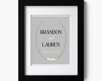 Personalized Wedding Poster - Names and Date Art Print - Great Wedding Shower Gift.
