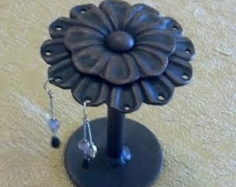 Style-1 Perfect Gift 1 Wrought Iron Flower Earring Holder, Decorative Earring Display, Holds 6 pairs of  earrings  Hand crafted & Painted
