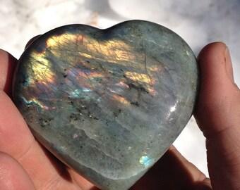 Labradorite Heart  -  Large Palm Piece no.01
