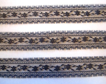 "Ana Black Flower Lace Trim, Black, 1 1/8"" inch wide, 1 Yard, For Scrapbook, Home Decor, Apparel, Accessories, Mixed Media"