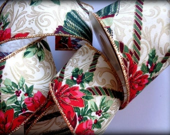 Wired Ornate Ribbon Trim, Multi, 2 1/2 inch wide, 1 yard, For Gift Packing, Wreaths, Center Pieces, Home Decor, Romantic Crafts.